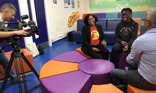 Picture shows specialist transition nurse Giselle Padmore-Payne with patient Benjamin Tshibangu in a BBC London interview