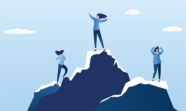Illustration shows three figures, the middle one standing on a mountain peak. The year of the nurse in 2020 gives the profession a chance to spotlight its achievements and have an impact on healthcare worldwide