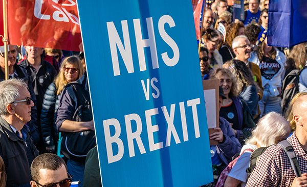 protesters against Brexit highlight the impact they say it will have on the NHS