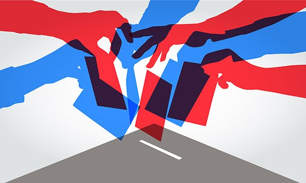 Illustration showing hands dropping papers into a ballot box