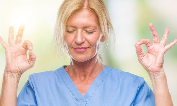 A nurse meditating. Picture: iStock