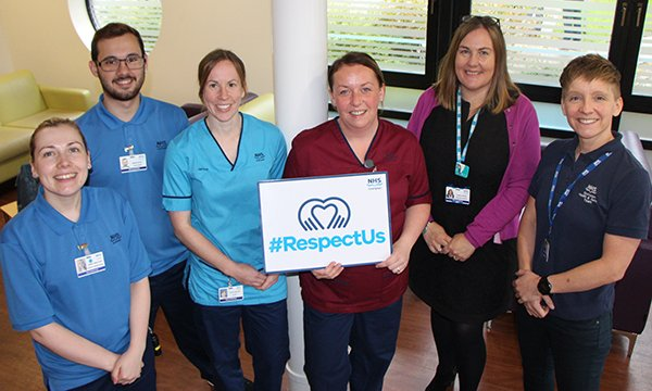 Royal Cornhill Hospital staff publicise their #RespectUs campaign