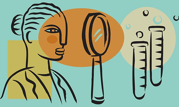 Abstract illustration depicts a female figure with a magnifying glass and test tubes. In this article three leading cancer experts explain why the role of the clinical research nurse is crucial.