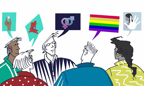 Illustration depicts a group of people talking about their experiences.  A programme to improve sexual safety on mental health wards is developing standards on staff training and support.