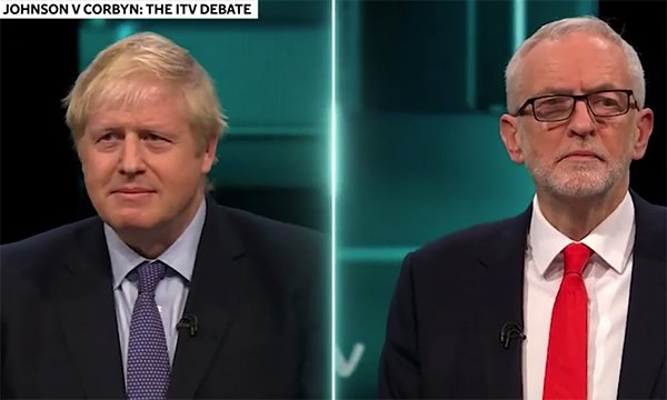 Conservative party leader Boris Johnson and Labour party leader Jeremy Corbyn during the live TV election debate