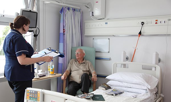 Photo of nurse and older patient as an illustration of bed-blocking