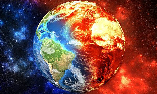 illustration shows planet earth in colours suggesting parts are flooded, others are overheated