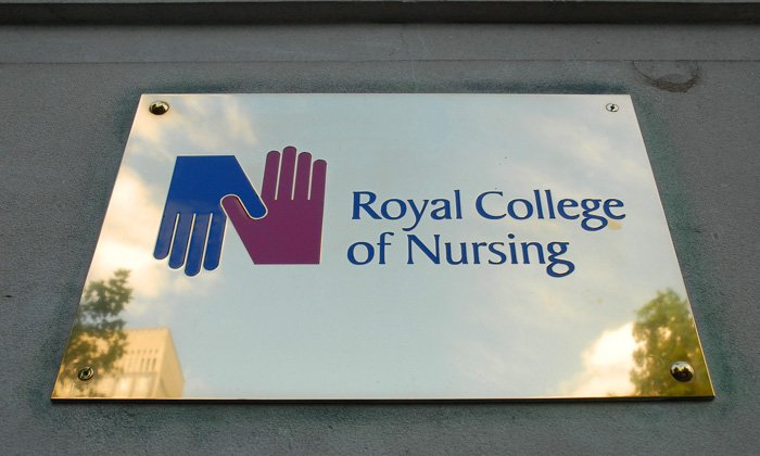 RCN name plate at the college's London headquarters