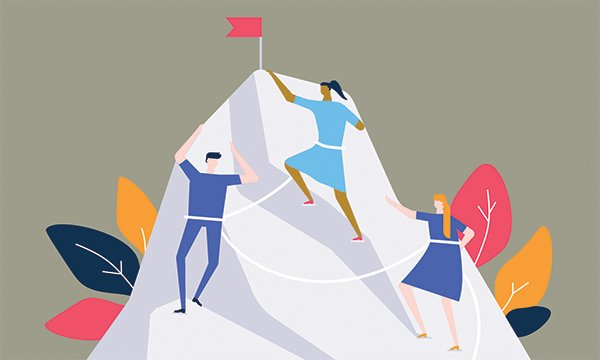 illustration shows nurses climbing up the side of a mountain to reach the summit