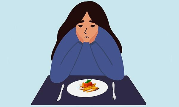 Illustration of a woman with an eating disorder