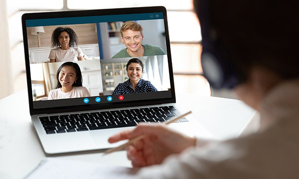 Picture of students on a video conference call. Students are getting involved in debates around the COVID-19 pandemic. Picture: iStock
