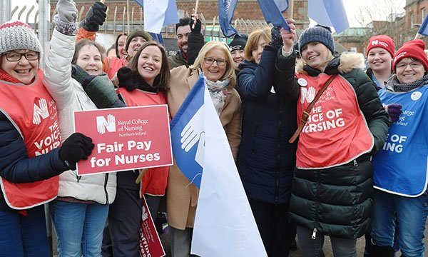 Pat Cullen (centre) with striking nurses in December 2019