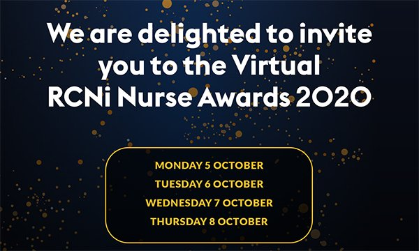 Picture shows an invitation to the RCNi Nurse Awards 2020