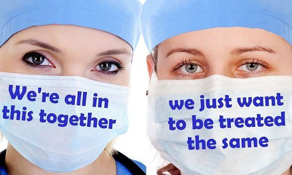 Agency nurse Covid bonus campaign image shows two nurses' faces with words calling for equal treatment