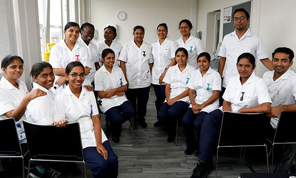 Picture shows nurses recruited from overseas working at Salford Royal NHS Foundation Trust