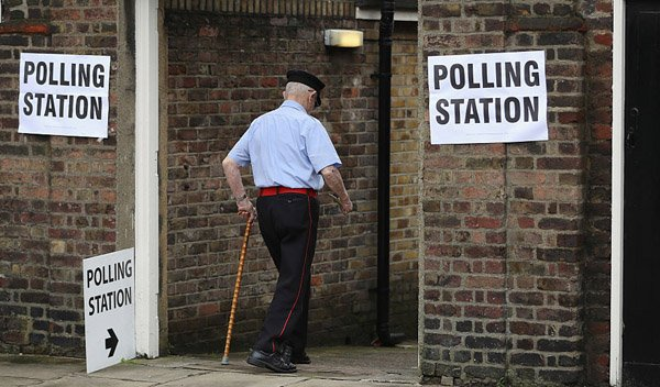 Older person going to vote