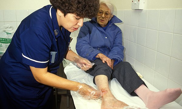 Cleaning a leg wound