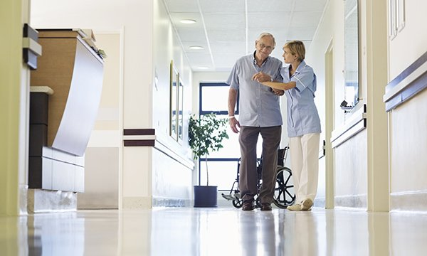 patient supported in walking