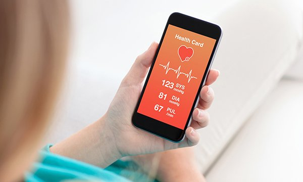 Someone looking at a healthcare app on a smartphone