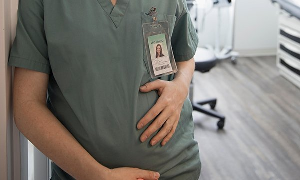 A pregnant healthcare worker