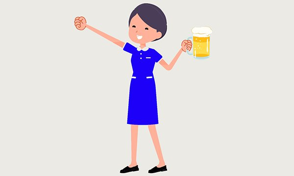 nurse holds a pint glass