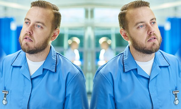 Split screen photograph of nurse being pulled in two different directions