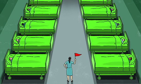 An illustration of a nurse standing on a ward with a red flag