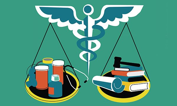 Picture depicts the medical symbol of a staff with snakes curled round it and scales of justice suspended from it balancing medicine and law books. Nurses are advocates for their patients, service-users, and a human rights approach is essential.