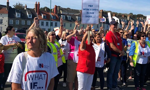 Guernsey nurses protesting about pay
