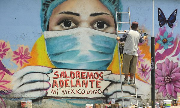 Mural in Mexico City that calls for end to violence against healthcare staff