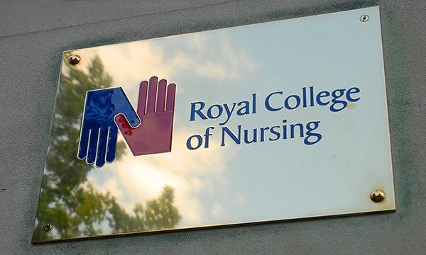 RCN sign outside RCN headquarters, Cavendish Square, London