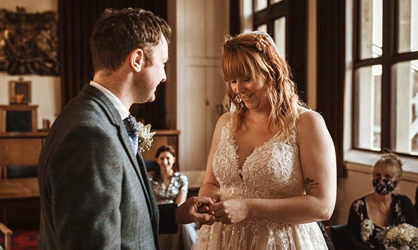 Mental health nurses Shona Watts and James Smith pictured at their whirlwind wedding