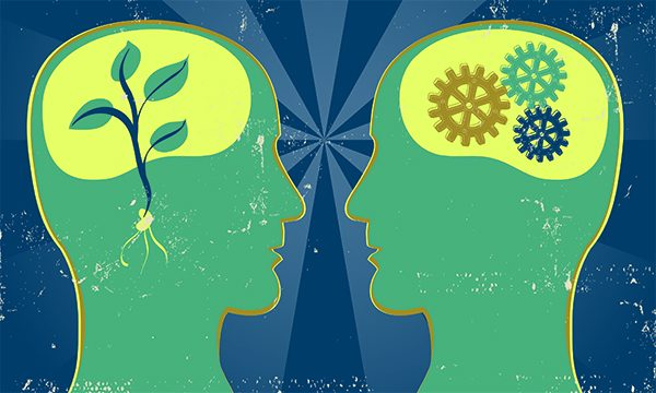 Illustration showing abstract image of two human heads, one with cogs inside the other with a plant growing