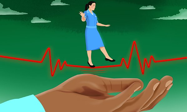 Illustration shows worried nurse treading a fine line