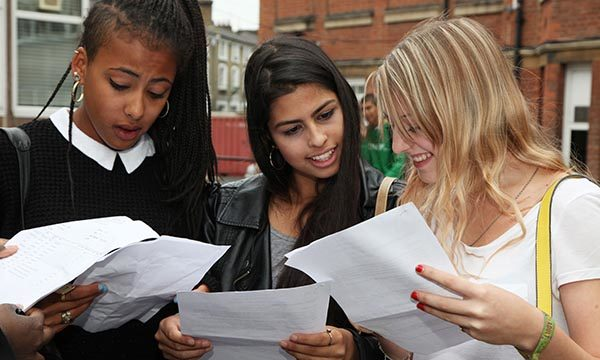 Students receiving exam results