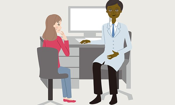 Illustration of patient talking to a doctor