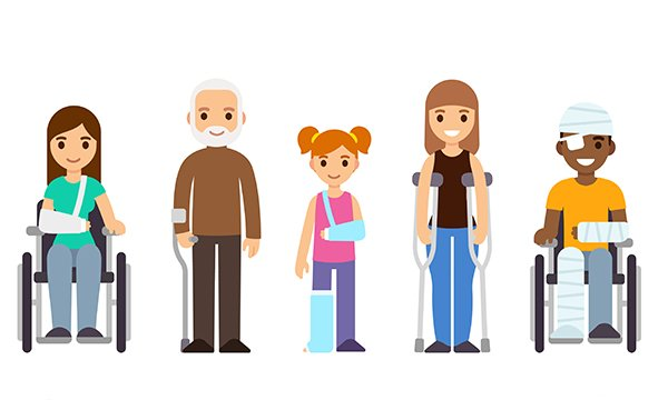 Picture shows computer graphics images of three people with injuries, two of them in wheelchairs, and an older man and young woman supporting themselves with crutches.