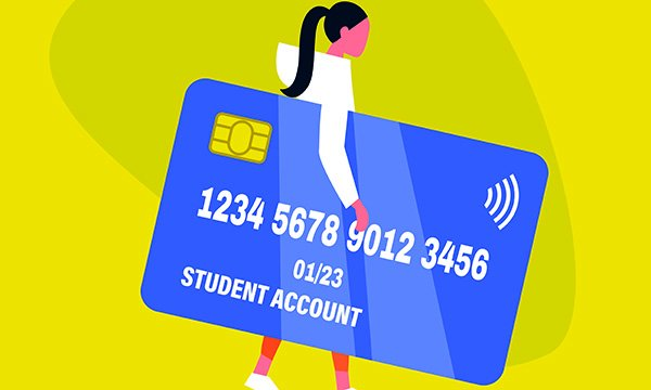 Illustration of a student carrying an oversized credit card