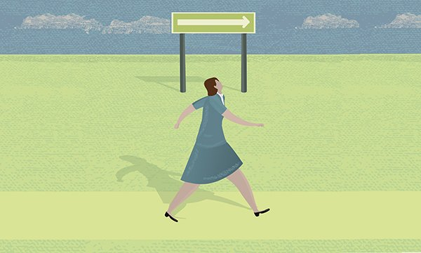 Illustration of a woman following an arrow on a sign post.