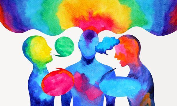 Illustration of abstract, rainbow coloured human shapes talking. Picture: iStock