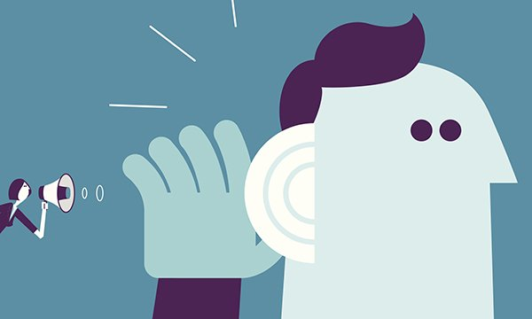 Illustration shows person using megaphone to try to get message across to someone who may not be listening