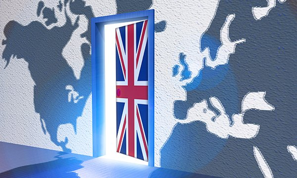 Illustration of a door allowing access to the UK, with a world map in the background