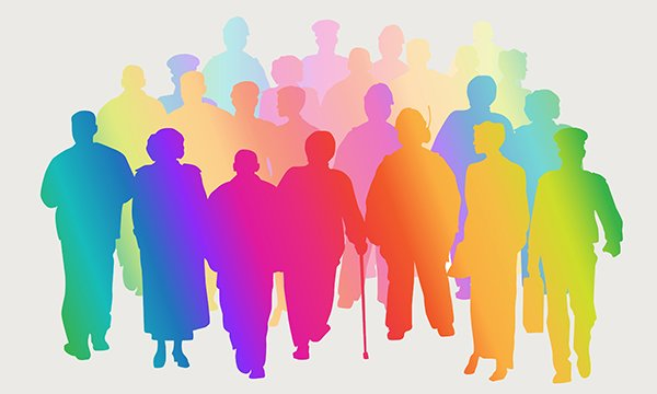 Illustration in rainbow colours of a crowd of people in silhouette. Paul Edwards, director of clinical services for Dementia UK, says healthcare systems such as the dementia diagnostic pathway must be flexible in adapting to people's deeply held beliefs