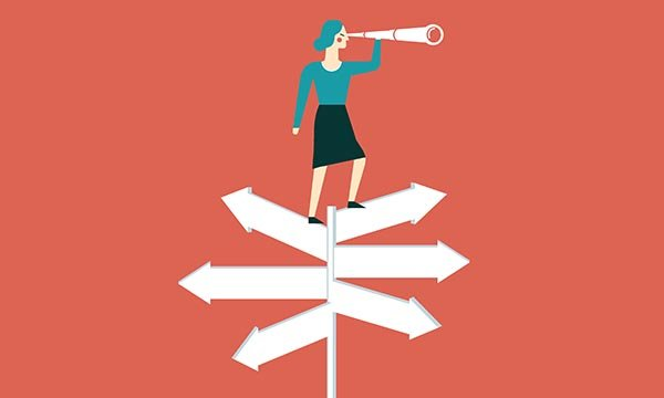 Illustration shows figure of woman standing on a signpost holding a telescope.