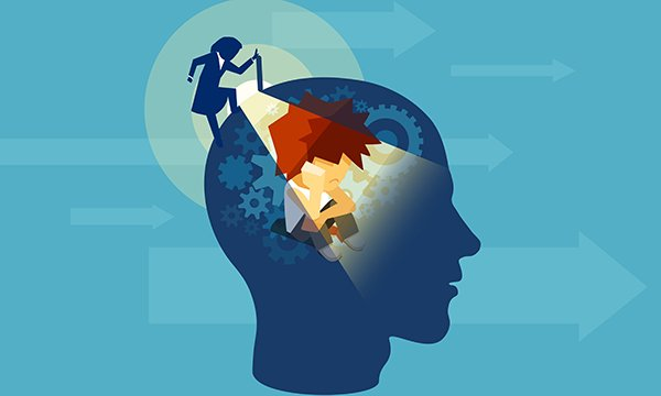 Illustration of a woman shining a torch inside a man's head. Communication is not always verbal but can be expressed by behaviour. Picture: iStock