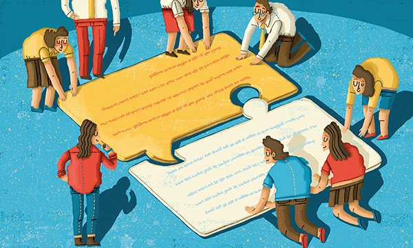 Illustration showing a group of people assembling a giant jigsaw puzzle. Sometimes completing an exercise can help us to piece things together. Picture: Alamy