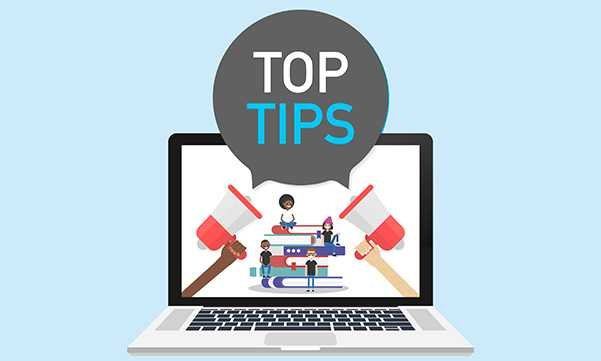 Illustration showing people of a computer screen and the words 'top tips'. Picture: iStock