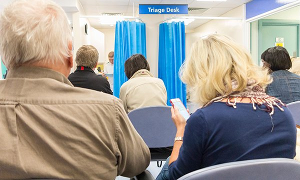 Waiting room at NHS health centre in London. Picture: Alamy