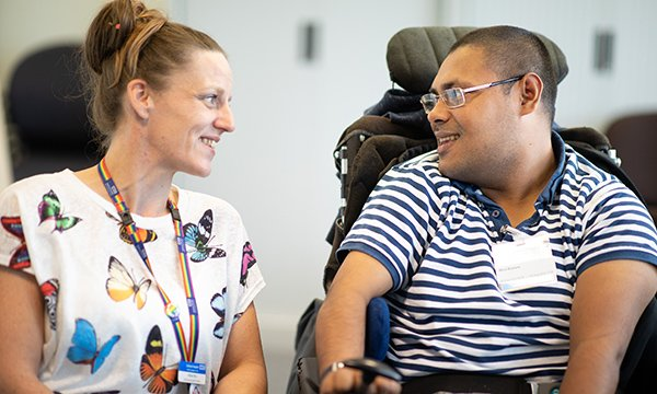 Nursing associate trainee Abbie Rix (left), with patient experience group member Abul Kasem Picture: Barney Newman