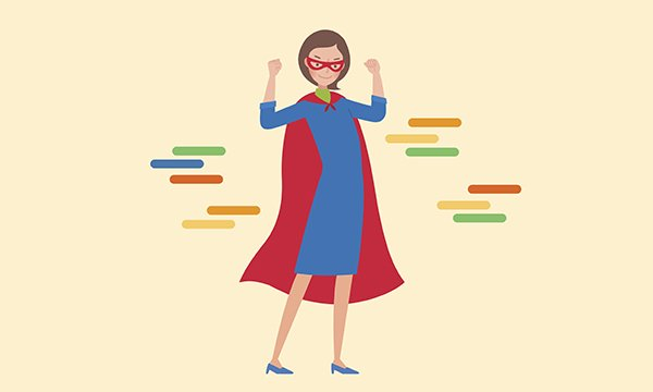 Image depicts woman in superhero cape with her hands raised. General practice nurses are frustrated with their status and feel undervalued. They should be seen as super nurses, not doctors' helpers.
